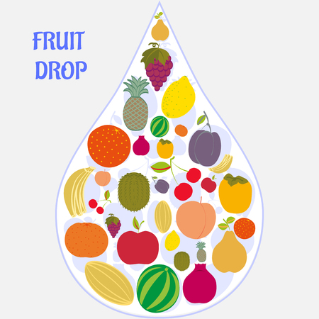 Flat fruit icons collected in the form of a drop. Vector illustration