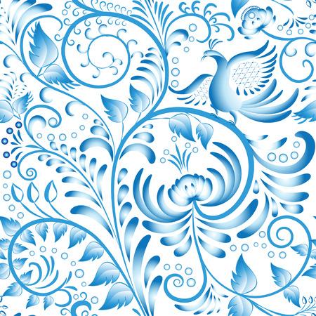Modelo floral inconsútil. Azul pintado en estilo gzhel con flores y pájaros. Estilización adornos de porcelana china. Ilustración vectorial Foto de archivo - 47684620