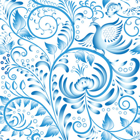 Seamless floral pattern. Blue painted in gzhel style with flowers and birds. Stylization Chinese porcelain ornament. Vector illustration