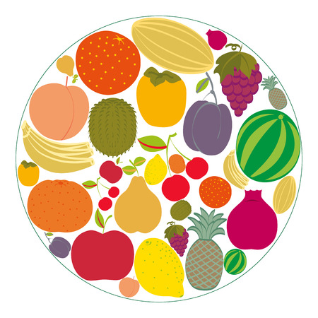 Flat fruit icons gathered in a circle. Vector illustration