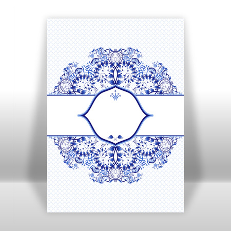 gzhel: Template design greeting card with a blue circular ornaments in gzhel style or Chinese painting. Vector illustration.
