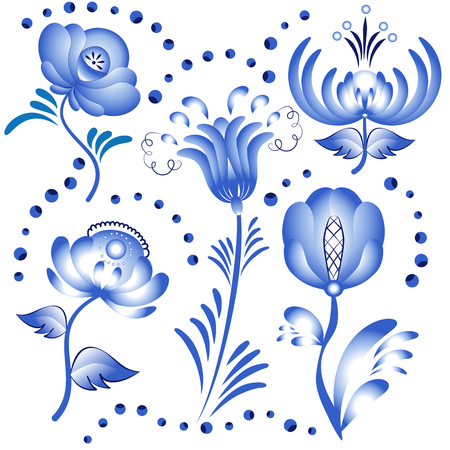 gzhel: Set of blue floral elements for design in the style of Gzhel, isolated on a white background. Vector illustration.