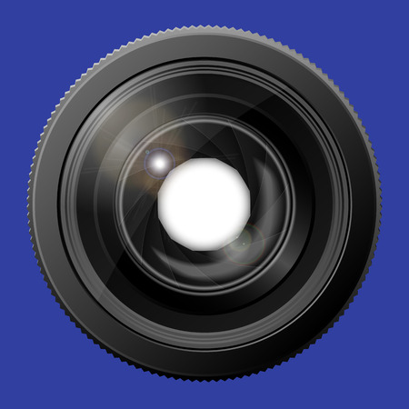 Realistic camera lens with the shutter open. Vector illustration Illustration