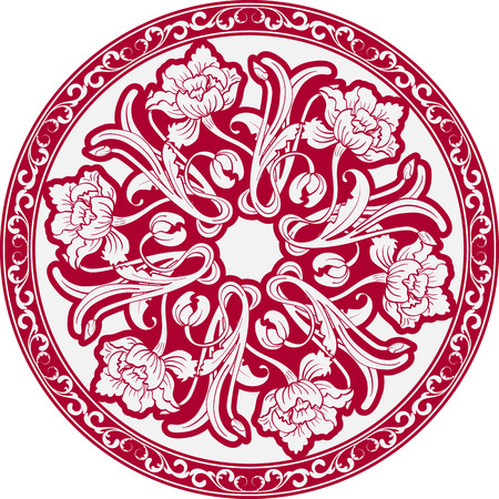 chinaware: The circular pattern with motifs of Chinese painting. Mandala of white flowers on a red background. Vector illustration Illustration