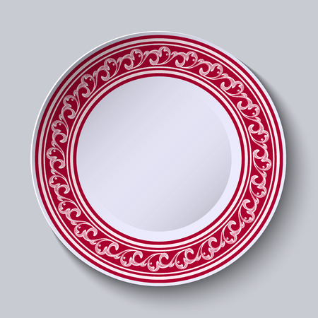 The circular red pattern with empty space in the center. White porcelain plate with a picture in the style of oriental paintings. Vector illustration.