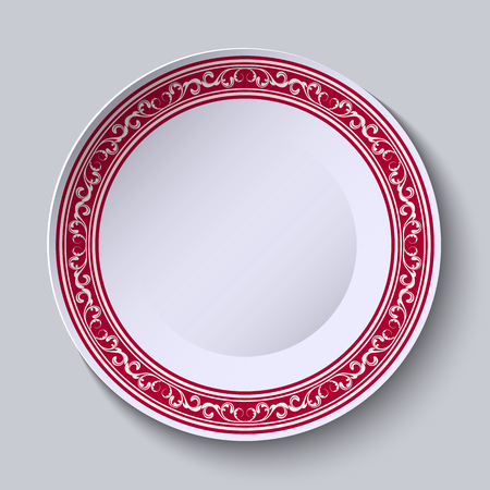 Decorative dish with an ethnic floral patterns on the rim for your design. Vector illustration.