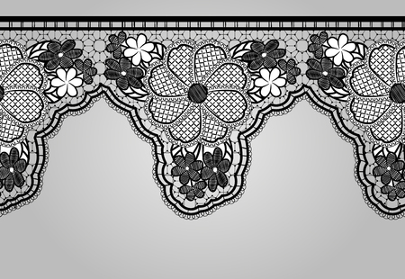 lacy: Unilateral Black seamless lace braid. Lacy background. Vector illustration.