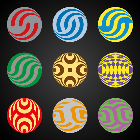 elements for logo: Set of colored elements for Logo design based on the Celtic mesh and the circle.