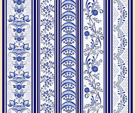 Reeks naadloze verticale grenzen in de etnische stijl van het schilderen op porselein. vector illustratie