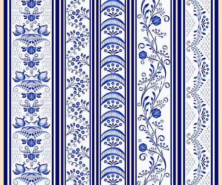 Set of seamless vertical borders in the ethnic style of painting on porcelain. Vector illustration Illustration