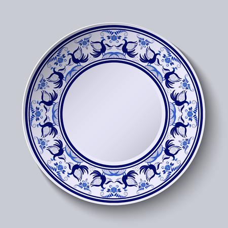 Placa con el patrón de estilo gzhel de la pintura sobre porcelana. Ornamento amplia a lo largo del borde con flores y pájaros. ilustración vectorial