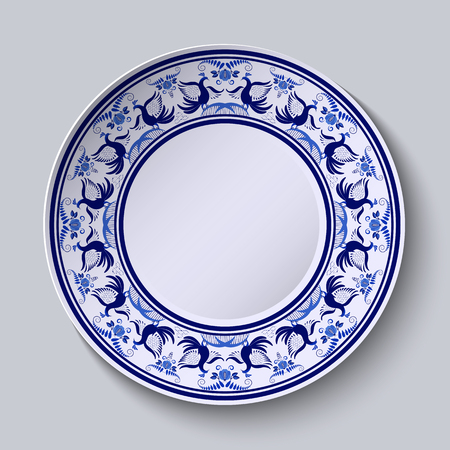 Plate with pattern in gzhel style of painting on porcelain. Wide ornament along the edge with flowers and birds. Vector illustration