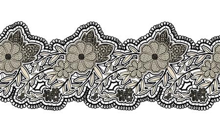 encaje: cinta del negro de encaje transparente aislado en el fondo blanco. incons�til de la frontera floral para el dise�o. ilustraci�n vectorial Vectores