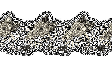 Black seamless lace ribbon isolated on white background. Floral seamless border for design. Vector illustration Illustration
