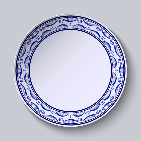 porcelain plate: Plate with ornament in gzhel style of painting on porcelain. Thin pattern with flowers on the edge. Vector illustration