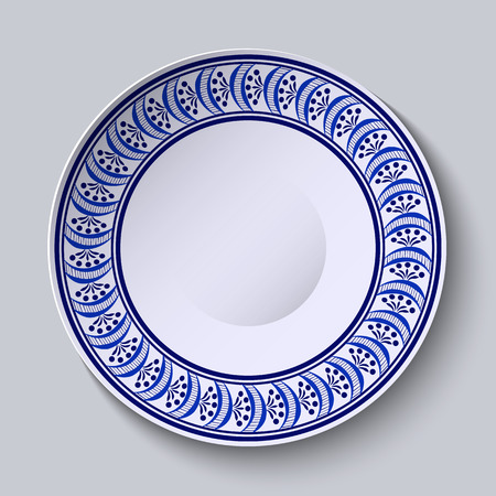 porcelain plate: Plate with blue ornament on edge. Template design in ethnic style Gzhel porcelain painting.  Vector illustration