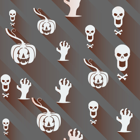 contorted: Seamless Halloween background. Pumpkin, skull and contorted hands with Long shadows on a gray backdrop.  Vector illustration