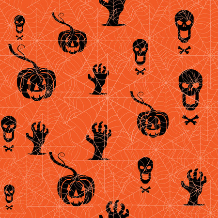 contorted: Seamless Halloween background. Pumpkin, skull and contorted hands on an orange backdrop with spider web. Vector illustration Illustration