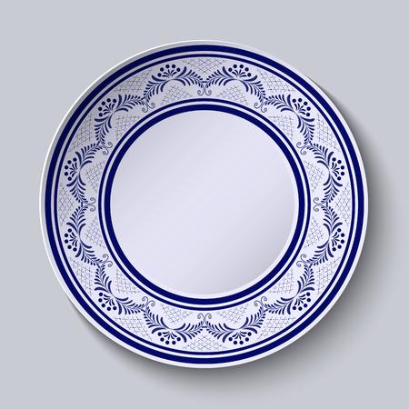 porcelain plate: Plate with blue ornamental border. Template design in folk style Gzhel porcelain painting.  Vector illustration