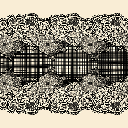 the womanly: Seamless lace ribbon with black cloth in the center. For the design of wedding cards and invitations in vintage style. Vector illustration