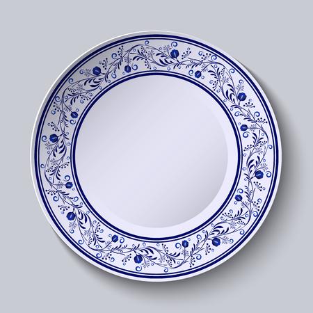 porcelain: Plate with blue patterned border. Template design in ethnic style Gzhel porcelain painting.  Vector illustration Illustration
