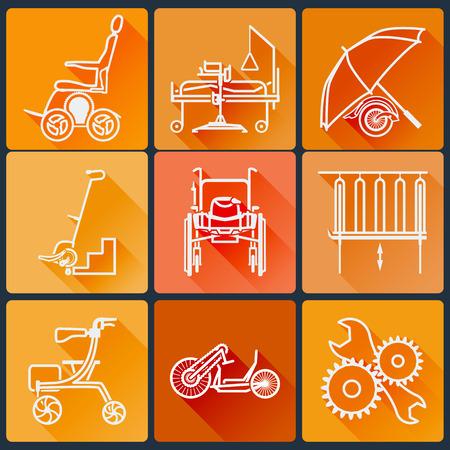 De apparatuur voor mensen met een handicap. Set van heldere iconen flat in een modieuze stijl met lange schaduwen in oranje tinten.