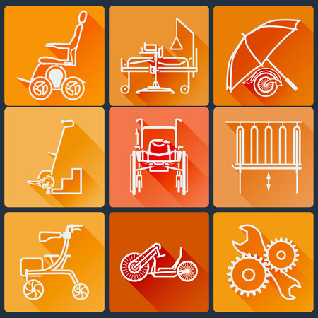 The equipment for people with disabilities. Set of bright icons flat in a fashionable style with long shadows in orange tones.