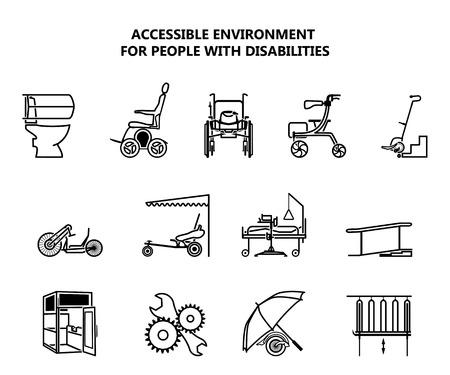 Set van pictogrammen op toegankelijke omgeving voor mensen met een handicap.