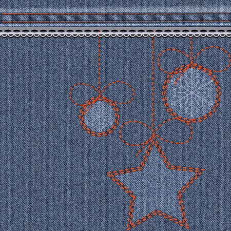suture: Blue Christmas background with denim texture, embroidery and lace. Christmas toy balls with snowflakes and stars. Illustration