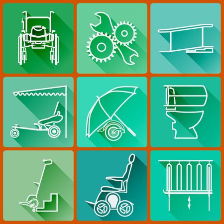 Apparatuur voor personen met een handicap. Reeks gekleurde pictogrammen flat in een modieuze stijl met lange schaduwen in de kleuren groen