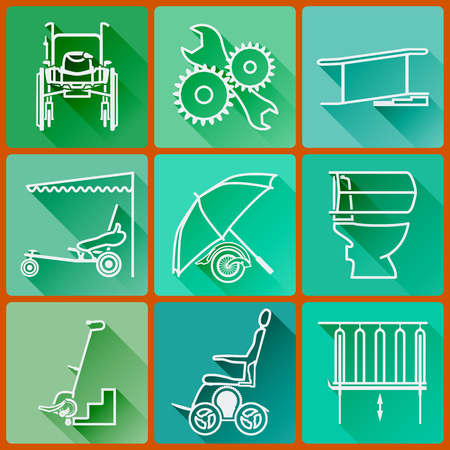 Equipment for persons with disabilities. Set of colored icons flat in a fashionable style with long shadows in shades of green
