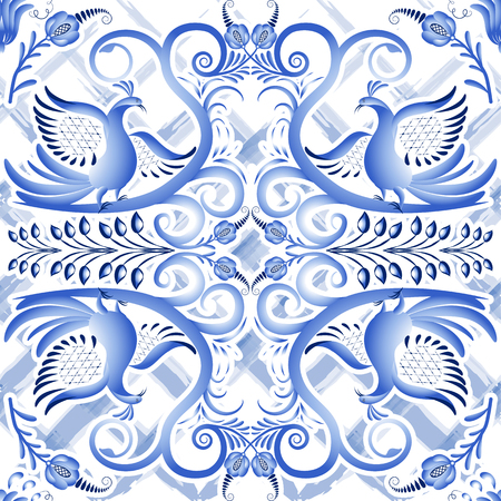 slavonic: Blue seamless light pattern in ethnic style Gzhel a watercolor substrate. Stylized painting on porcelain. Vector illustration.