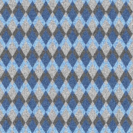 argyle: Blue denim with white seamless argyle pattern. Vector illustration