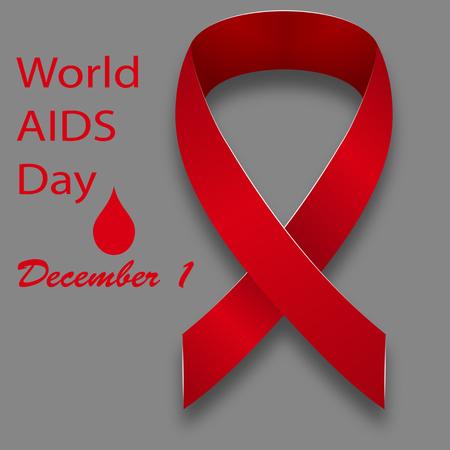 relaciones sexuales: 01 de diciembre Día Mundial del SIDA cinta de satén rojo sobre un fondo gris con el texto. Ilustración del vector.
