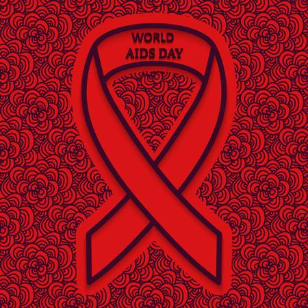 relaciones sexuales: 01 de diciembre Día Mundial del SIDA fondo rojo con un patrón oscuro en el estilo de ZENART y cinta contorno. Ilustración del vector. Vectores