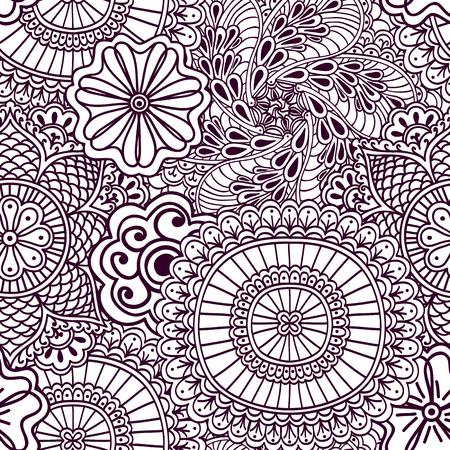 seamlessly: Seamless zenart pattern based on Indian henna painting. Vector illustration.