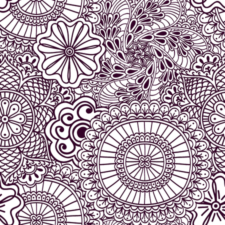 Seamless zenart pattern based on Indian henna painting. Vector illustration.