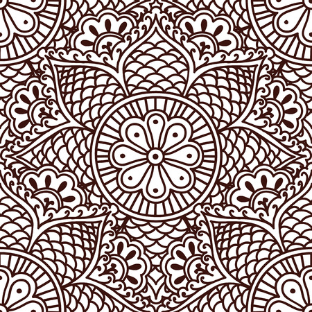 asian style: Seamless paisley pattern with flowers in the Asian style hand drawing. Vector illustration.