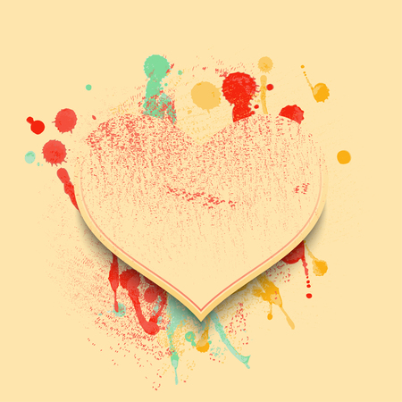 colors paint: Valentine background with hearts and spots of paint in soft vintage colors. Vector illustration
