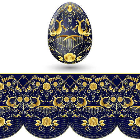 russian: Easter egg painted. Dark blue and gold seamless pattern in national style of painting on porcelain. Vector illustration