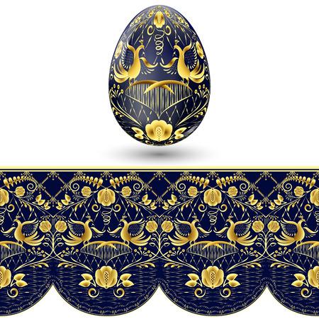 huevo de Pascua pintado. patrón transparente azul y oro oscuro en el estilo nacional de pintura sobre porcelana. ilustración vectorial Ilustración de vector