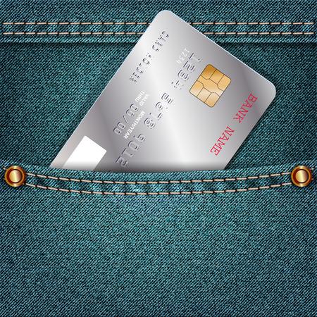 jeans pocket: Jeans pocket with a single silver credit card. Vector illustration
