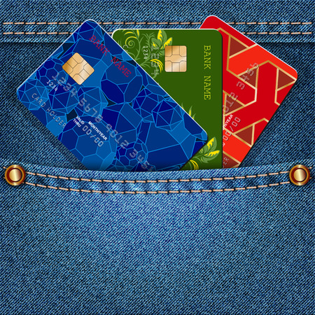 installment: Denim pocket with colored credit cards. Vector illustration