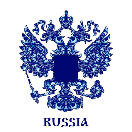 double headed: Emblem of Russia with blue pattern in national style Gzhel with inscription. Vector illustration.