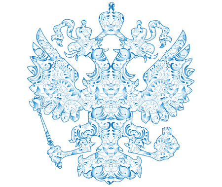double headed: Coat of arms of Russia with blue pattern in traditional folk style Gzhel, Isolated on white. Vector illustration.