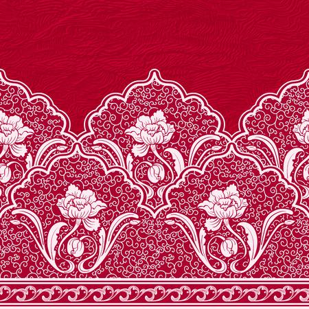 中国のスタイルでシームレスな境界線。白い花と赤いテクスチャ背景にカールのパターン。ベクトルの図。