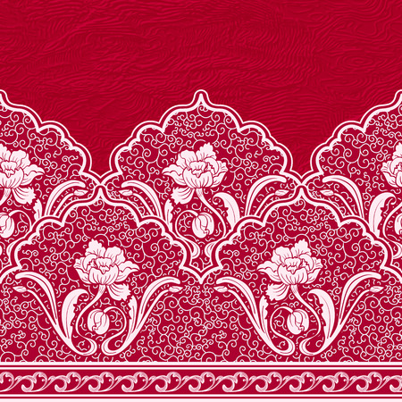 chinese border: Seamless border in the Chinese style. Pattern of white flowers and curls on a red textured background. Vector illustration.