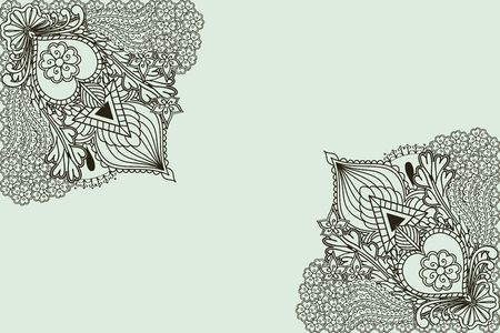 mendi: Background with elements of hand drawing in Indian style. Vector illustration.
