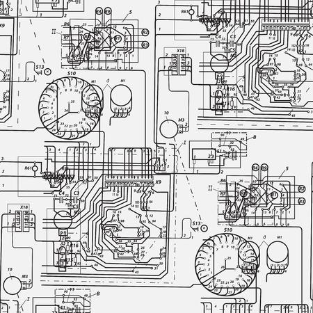 Astratto modello senza saldatura sul tema della scienza e ingegneria elettrica. Nero fantastico schema elettrico su uno sfondo bianco.