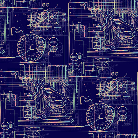 electric circuit: Seamless abstract pattern technology. Luminous electric circuit on a dark blue background